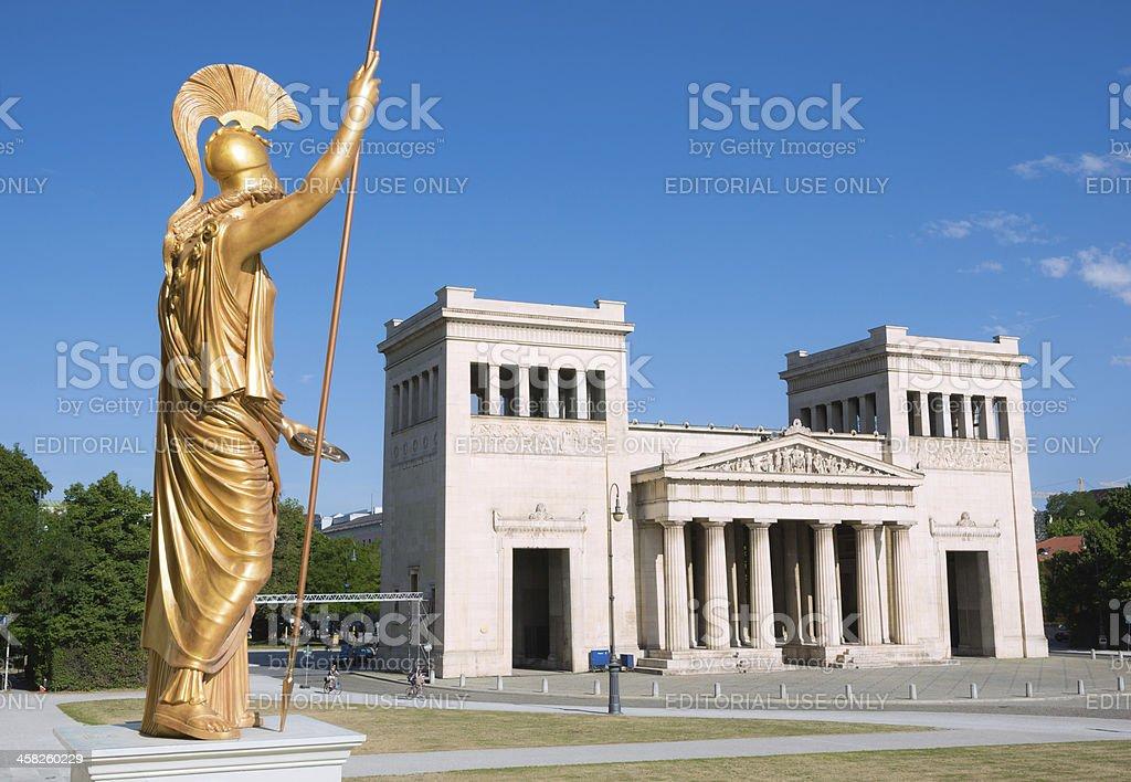 Statue and Propyläen at the Königsplatz in Munich, Germany royalty-free stock photo
