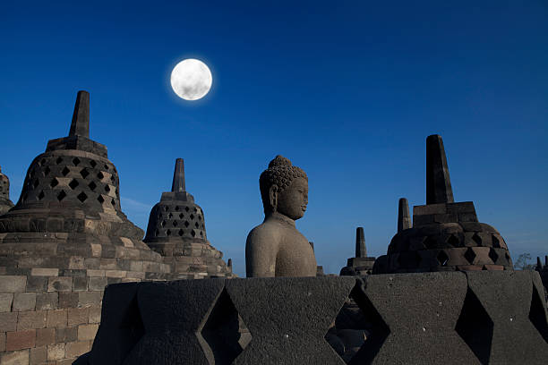 Statue and stupa at borobudur