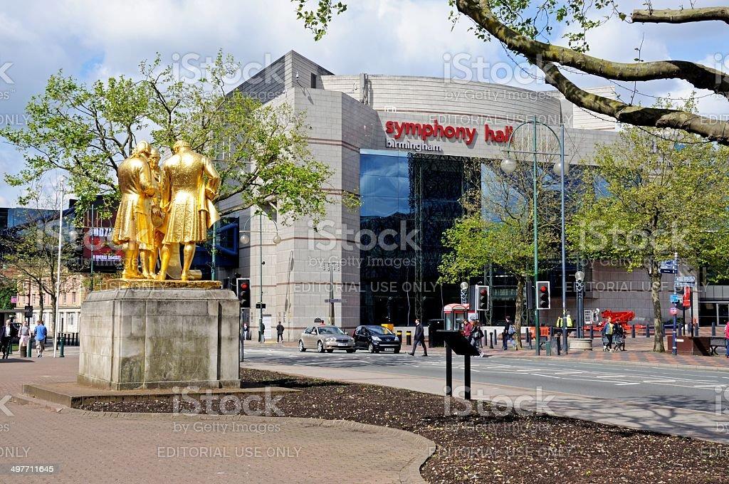 Statue and Symphony Hall, Birmingham. stock photo