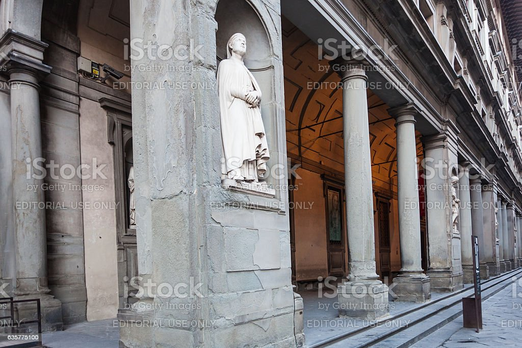 statue Andrea Orcagna on arcade of Uffizi Gallery stock photo