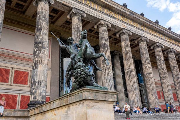 Statue at Altes Museum. German Old Museum at Berlin, Germany stock photo