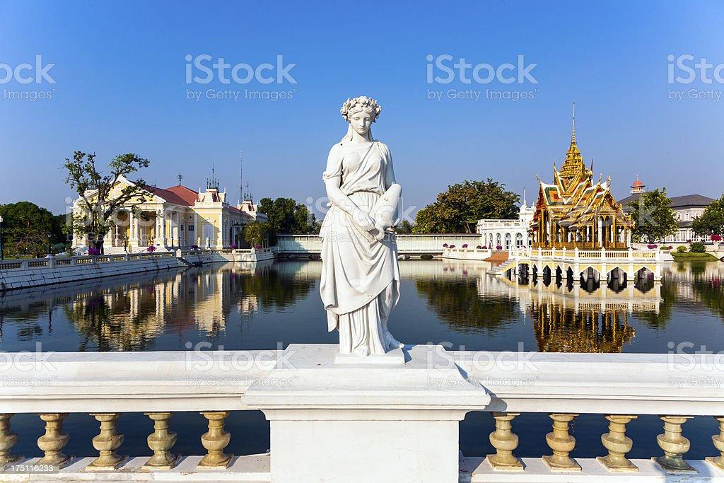 Statue at Bang Pa-In Palace stock photo
