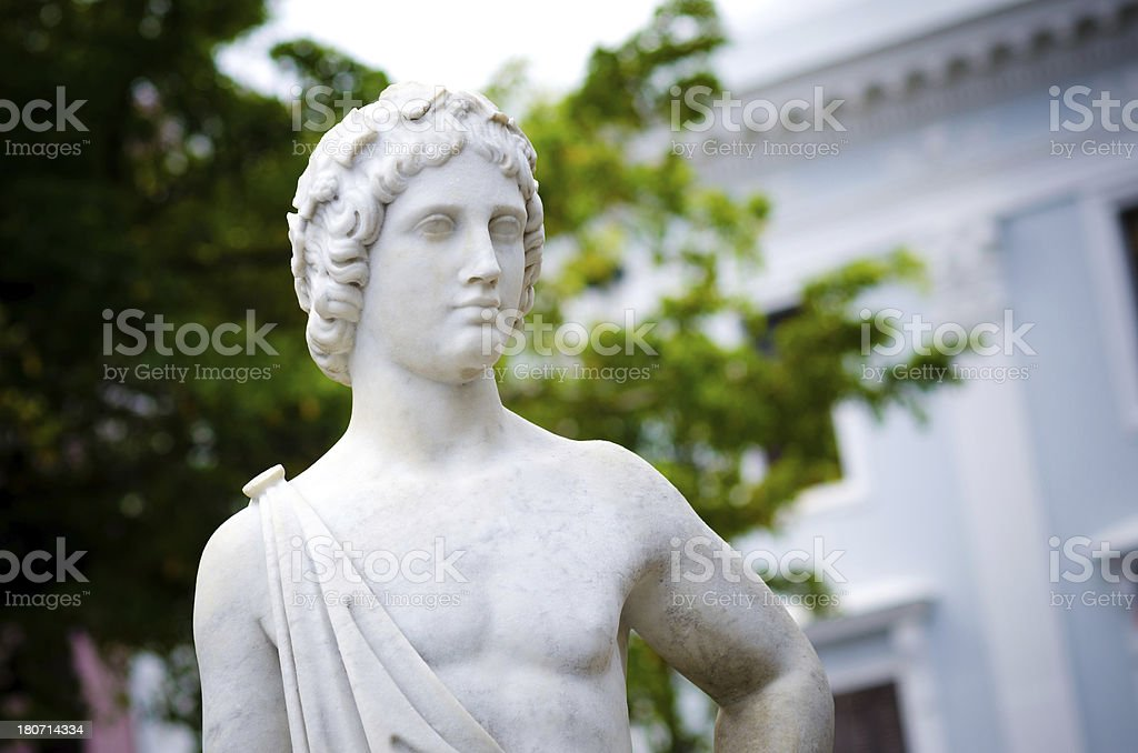 Statue at fountain in Plaza de Armas royalty-free stock photo