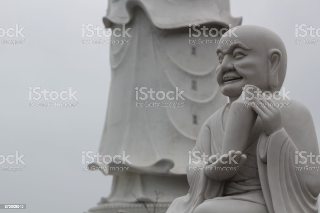 statue at Linh Ung pagodas stock photo