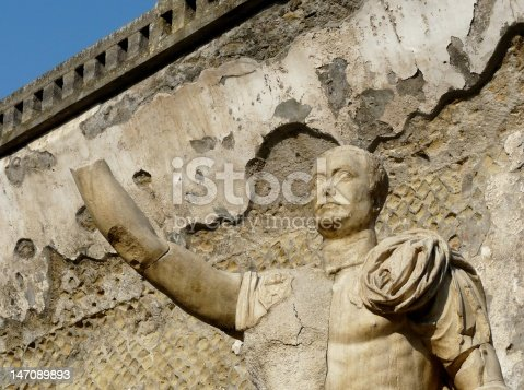 Statue at the ancient Roman city of Herculaneum, which was destroyed and buried by ash during the eruption of Mount Vesuvius in 79 AD