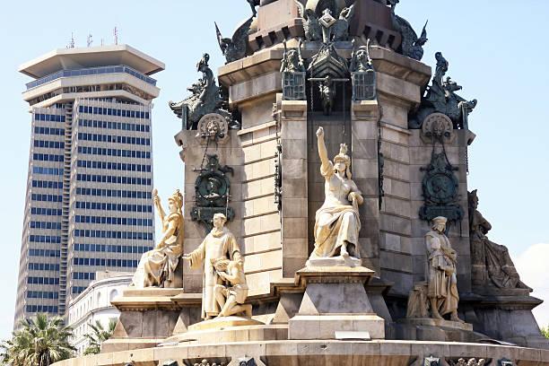 황후상 christopher columbus 시내 바르셀로나 - columbus day 뉴스 사진 이미지