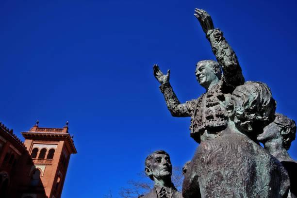 Statue dedicated to bullfighter Antonio Bienvenida (Antonio Mejias Jimenez) at Plaza de Toros de Las Ventas (Las Ventas del Espiritu Santo), a famous bullring located in Madrid, Spain stock photo