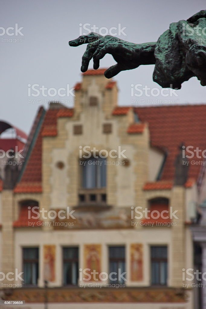 Statue detail in Old Town Square, Prague, Czech Republic stock photo