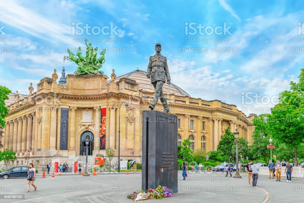 Statue General De Gaulle  on square with people, near Grand Palais  in Paris, France. stock photo