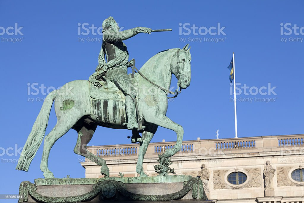 Statue Gustavus Adolphus in Stockholm - Sweden stock photo