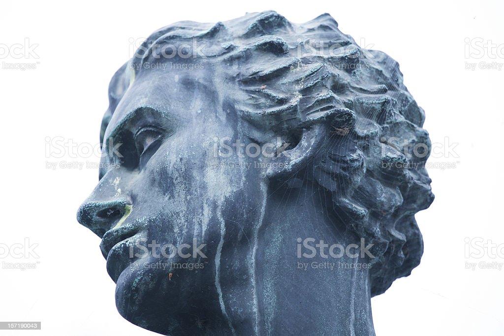 Statue head cobwebbed royalty-free stock photo