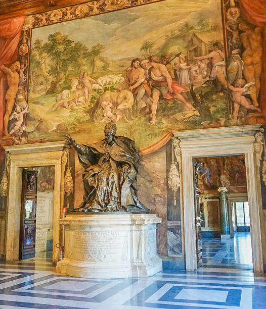 ROME, ITALY- OCTOBER 10, 2017:  A Statue in a Room in The Conservators Apartment in the Musei Capitolini stock photo