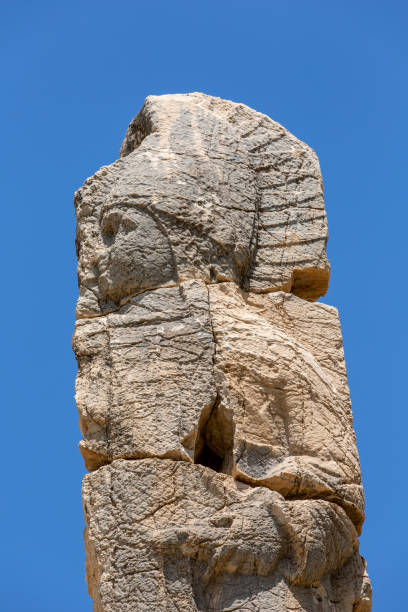 Statue in Arsameia ancient city of Adiyaman. stock photo