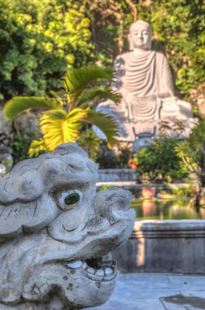Statue in buddhist temple, Vietnam stock photo