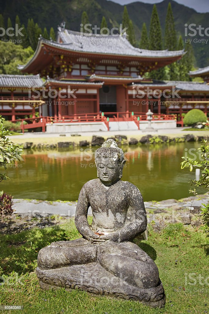 Statue in front of a Buddhist temple royalty-free stock photo