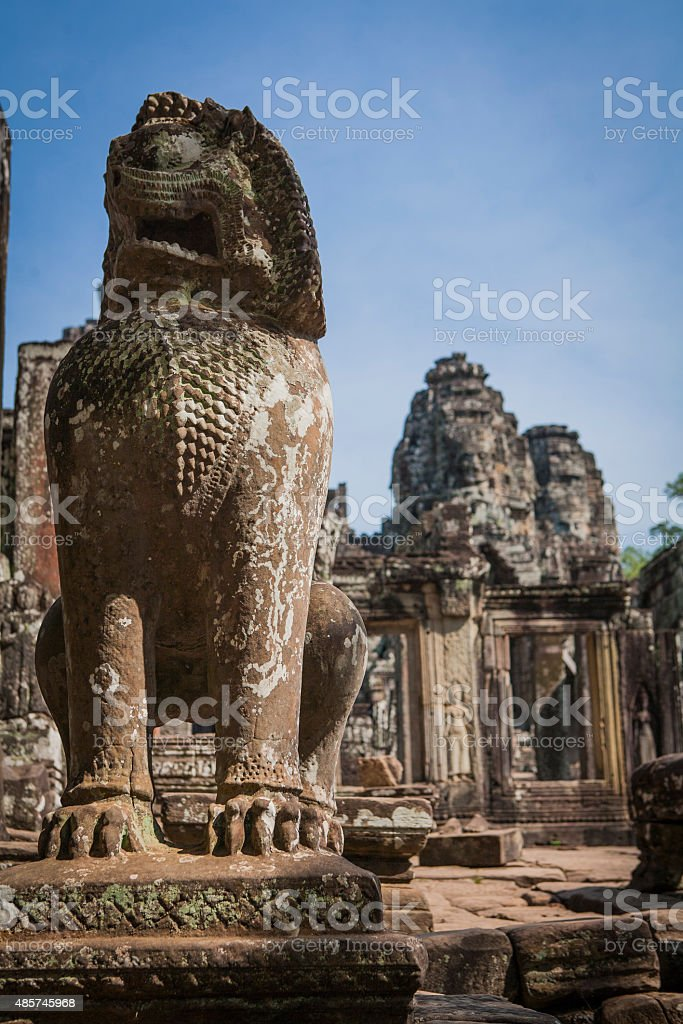 Statue in front of Bayon temple stock photo