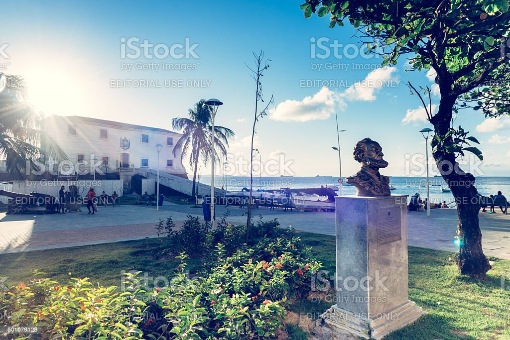 statue in front of the marina museum in Salvador Brazil stock photo