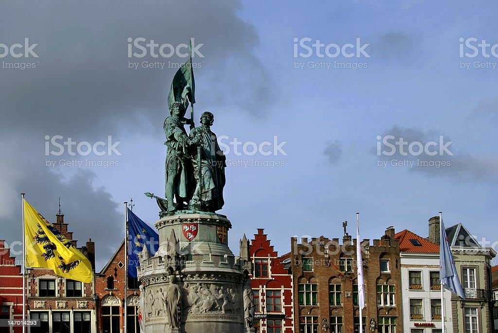 Statue in Markt Square, Bruges royalty-free stock photo