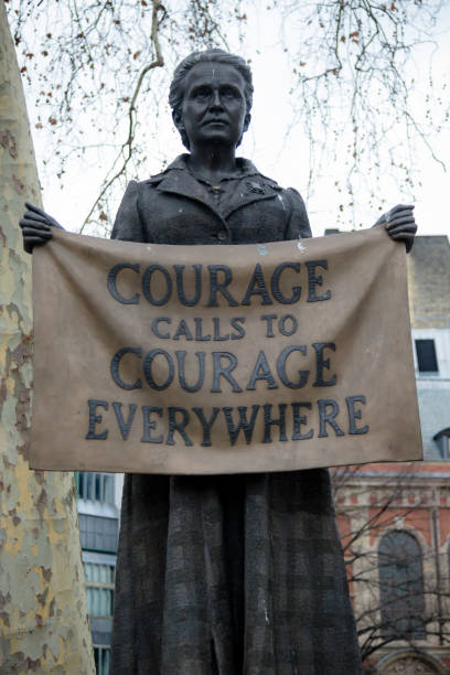 Statue in Parliament Square London of Millicent Garrett Fawcett London, United Kingdom, 31st January 2019:- Statue of Millicent Garrett Fawcett located in Parliament Square, central London women's suffrage stock pictures, royalty-free photos & images