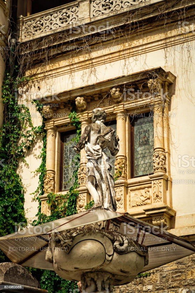 Statue in Peles Castle, Sinaia, Romania stock photo