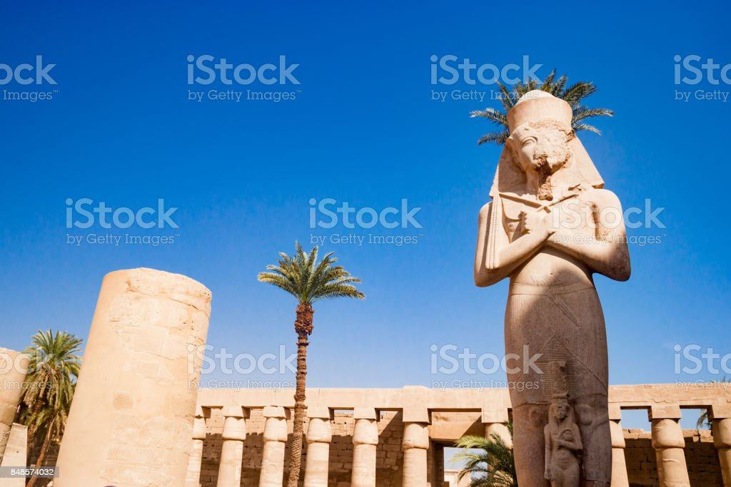 Statue in the temple of Karnak in Luxor Egypt stock photo