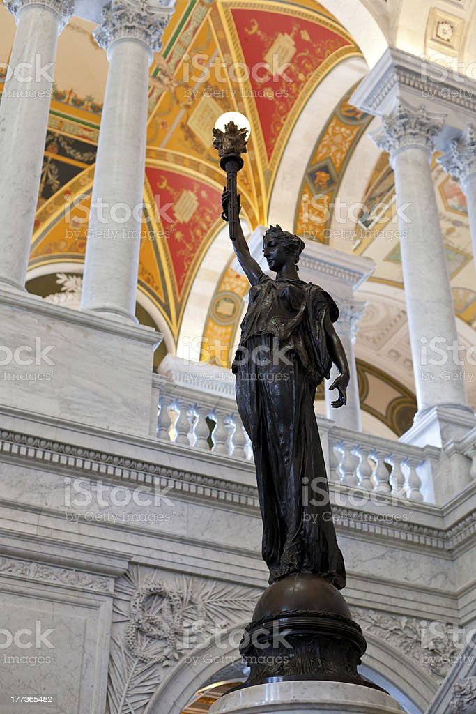 Statue inside Library Congress in Washington DC stock photo