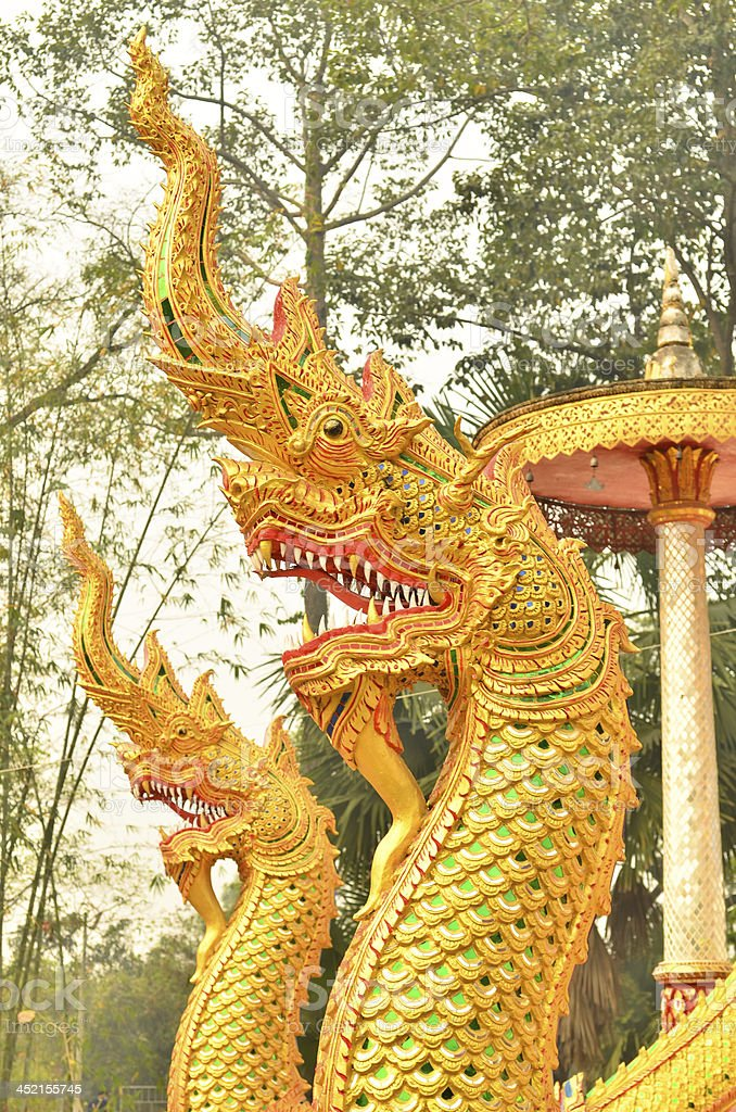 statue king  nagas in front of buddhism temple, Chiangmai_THAI royalty-free stock photo