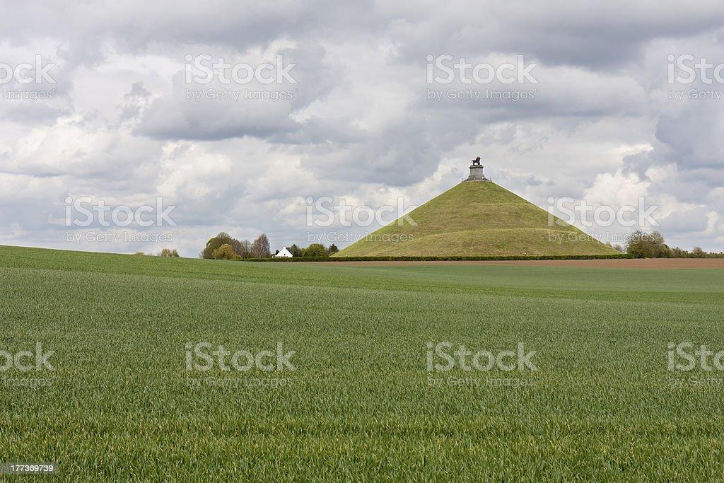 Statue Lion's Mound at battlefield of Waterloo, Belgium stock photo