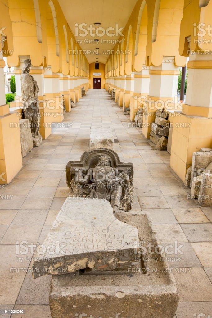 Statue lying in a corridor of the citadel in Alba Iulia, Romania stock photo