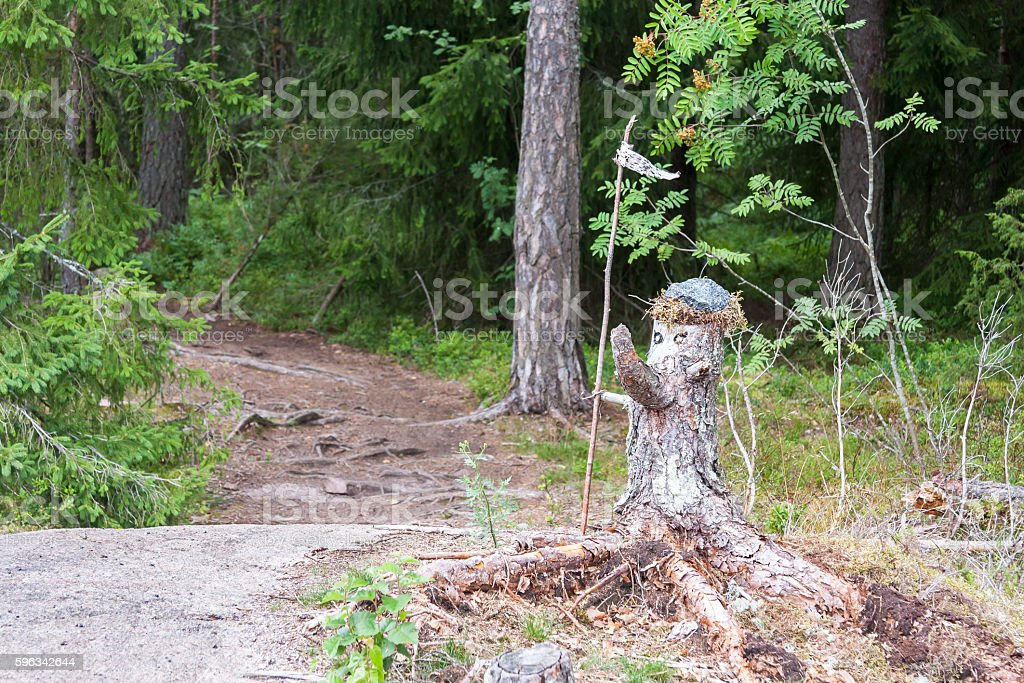Statue made of old pine tree stump Lizenzfreies stock-foto