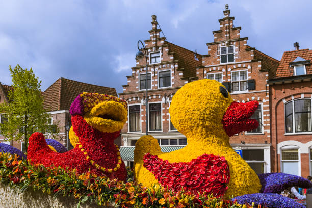 Statue made of tulips on flowers parade in Haarlem Netherlands stock photo