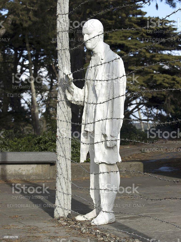 Statue man Holocaust Memorial stock photo