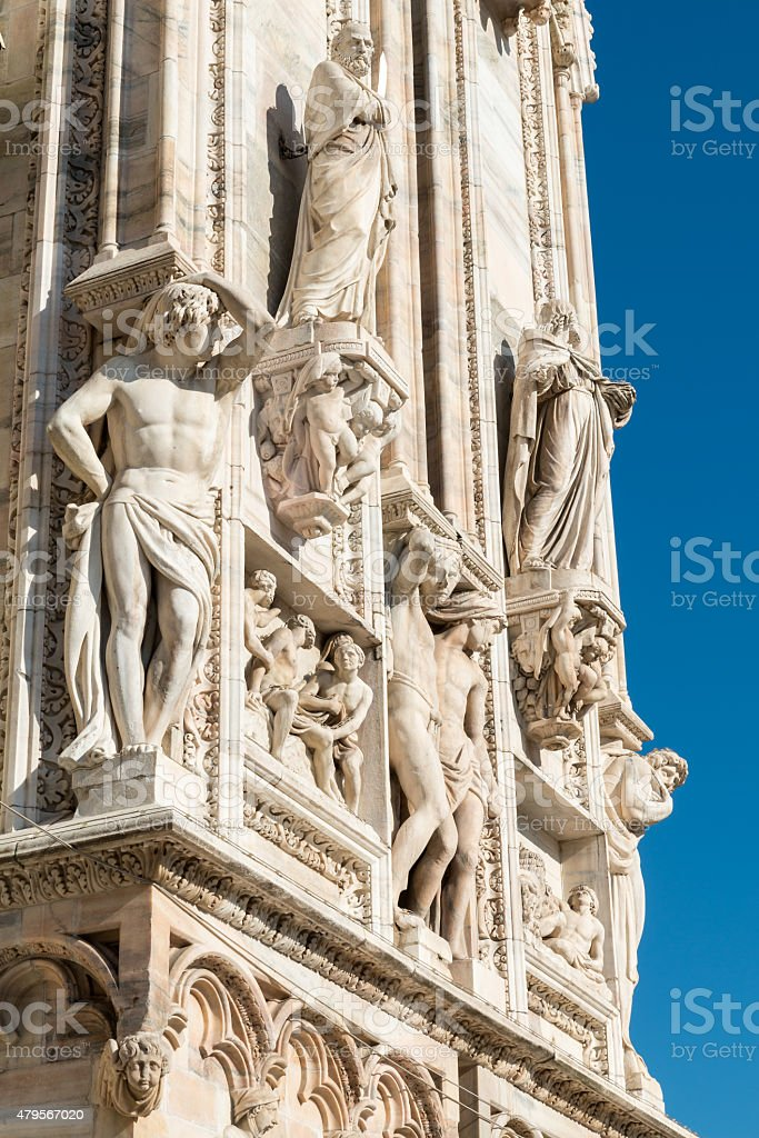 Statue Milan Cathedral stock photo