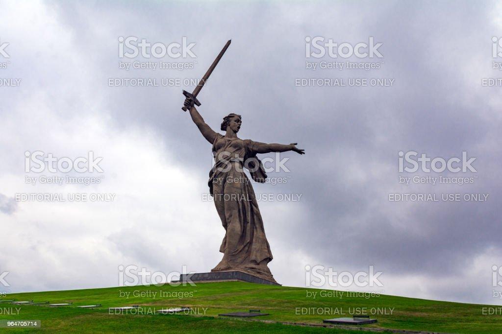 Statue 'Motherland' on Mamayev Kurgan royalty-free stock photo