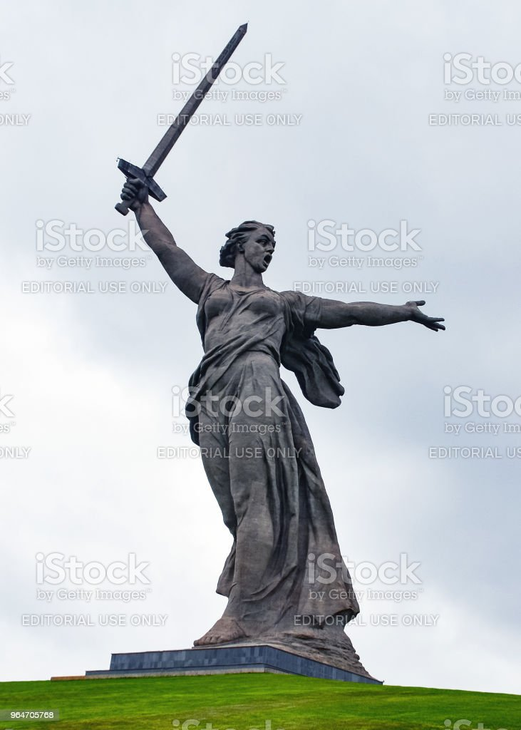 Statue 'Motherland' on Mamayev Kurgan royalty-free stock photo