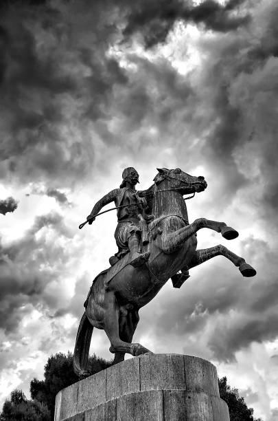 Statue of  a greek hero named Karaiskakis stock photo