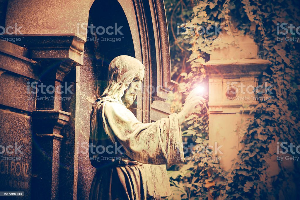 Statue of a Jesus Christ with light effect stock photo
