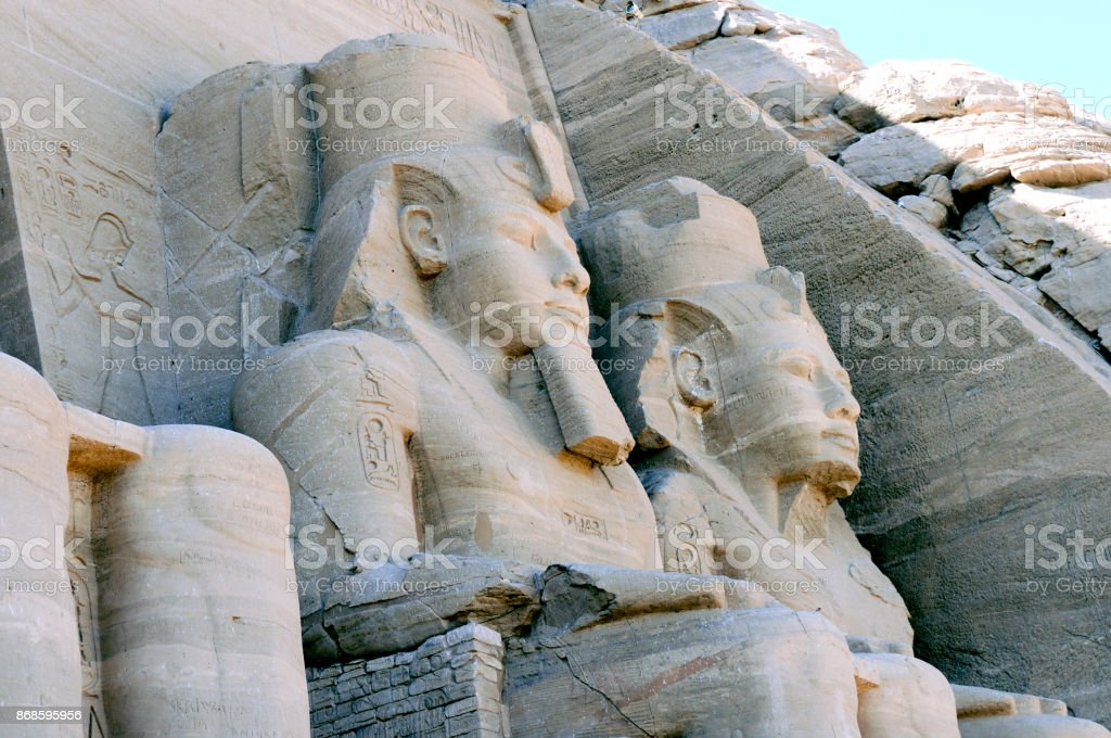 Statue of a Sitting Pharoah of Ancient Egypt stock photo