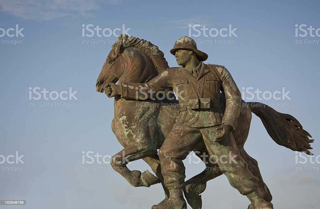 Statue of a Soldier and his horse stock photo
