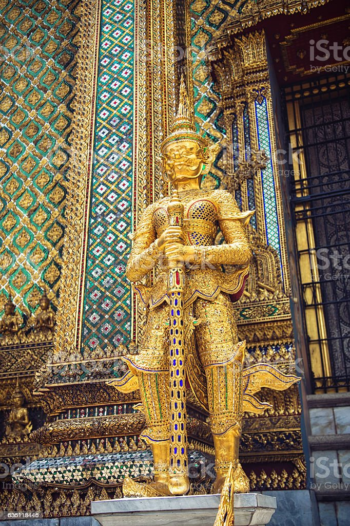 Statue of a Thotsakhirithon in the kings palace in Bangkok stock photo