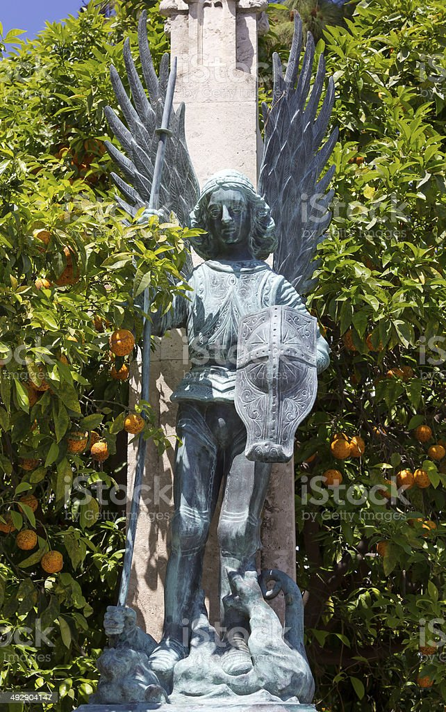 Statue of a Warrior Angel in Valencia stock photo
