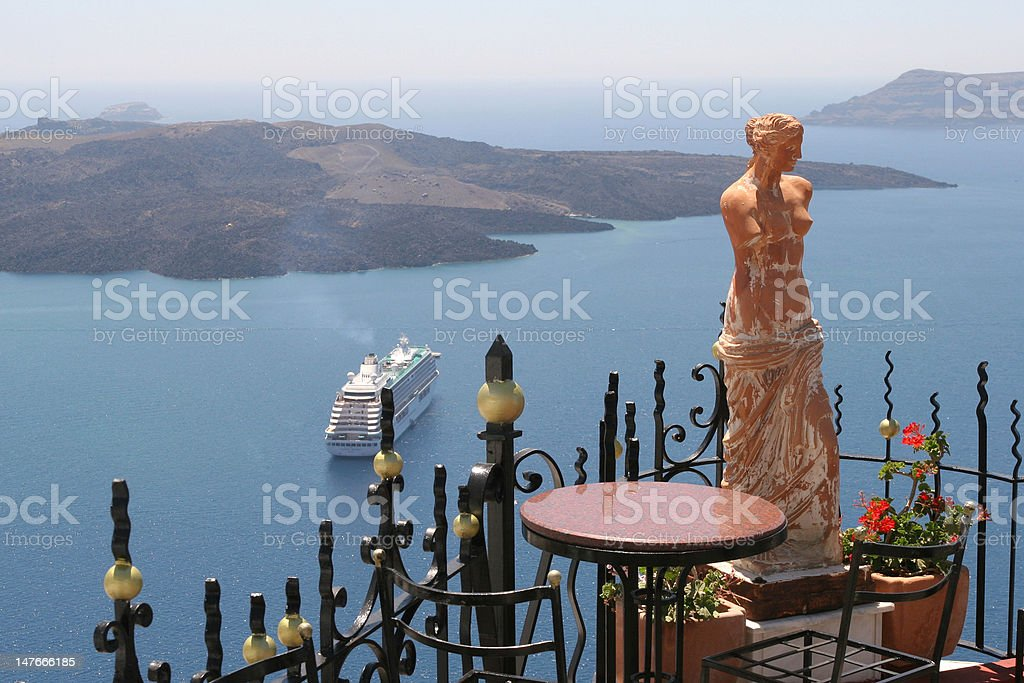 Statue of a woman in Santorini, Greece royalty-free stock photo