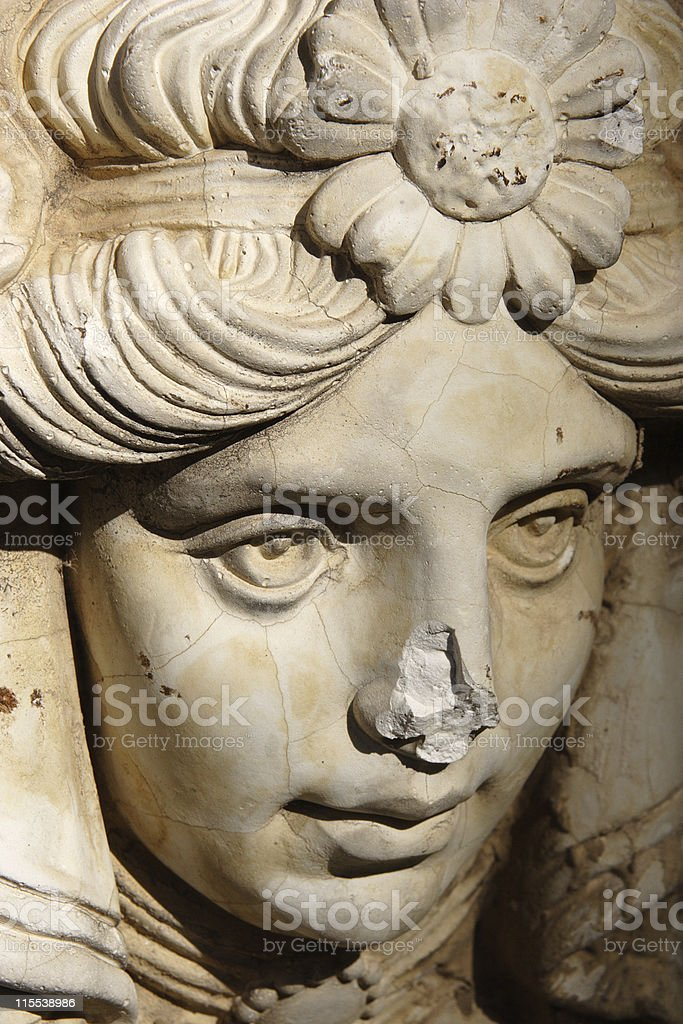 Statue of a Woman with Broken Nose stock photo