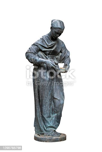 Statue of a young angel isolated on white background