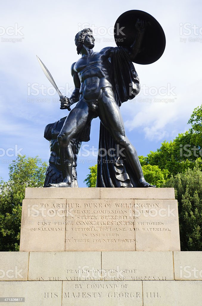 Statue of Achilles at Hyde Park in London, England royalty-free stock photo
