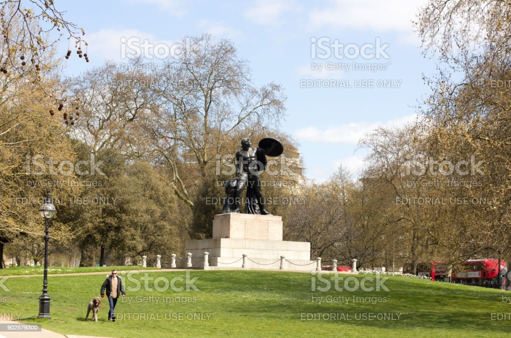Statue of Achilles in Hyde Park, London stock photo