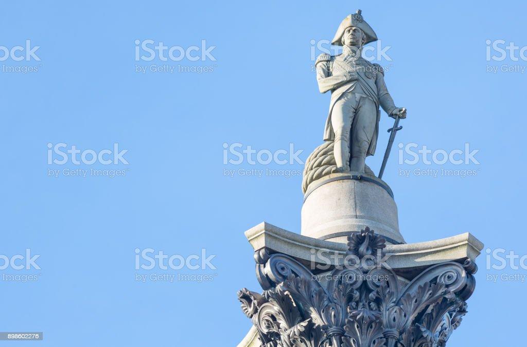 Statue of Admiral Nelson on Trafalgar Square, London, UK stock photo