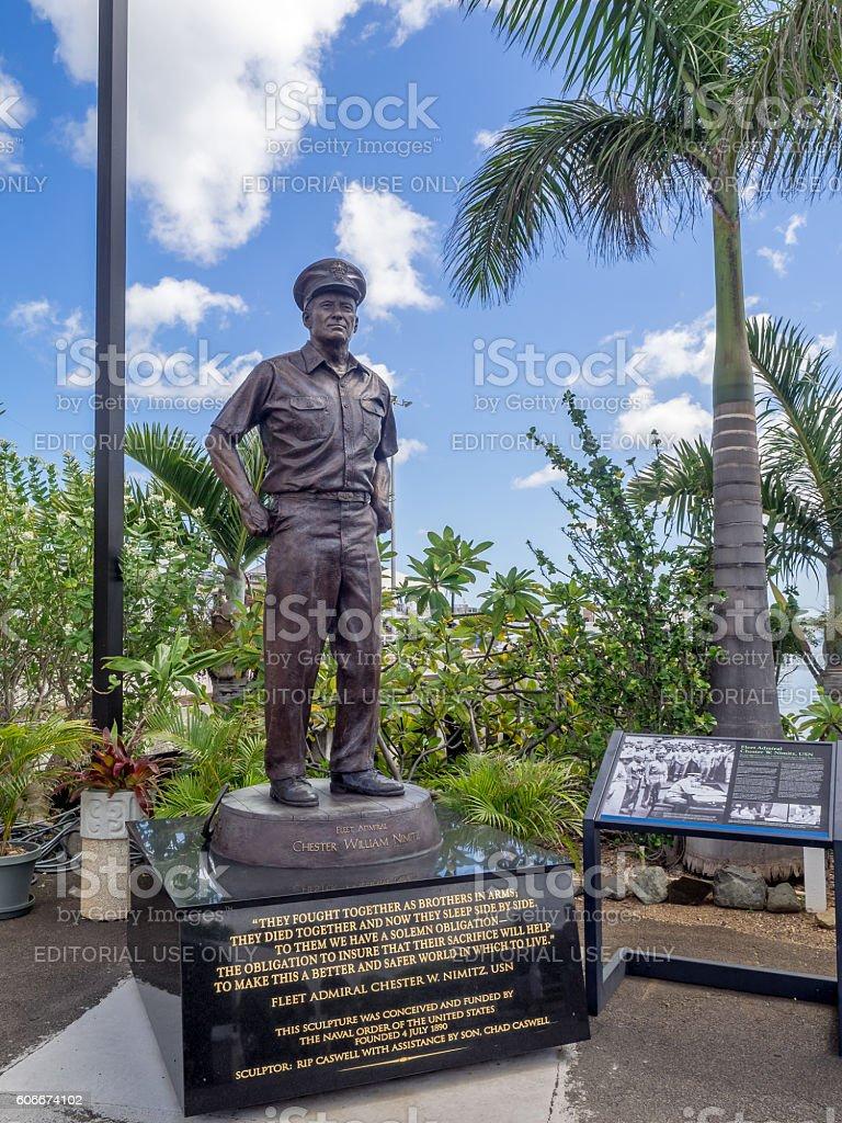 Statue of Admiral Nimitz at the USS Missouri stock photo