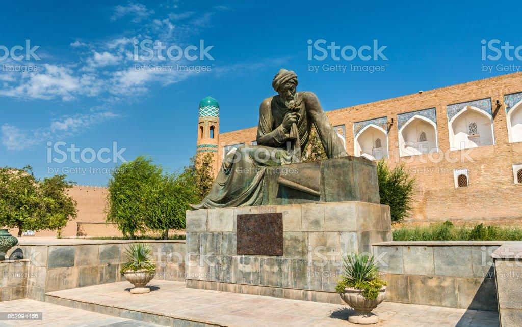 Statue of Al-Khwarizmi in front of Itchan Kala in Khiva, Uzbekistan stock photo