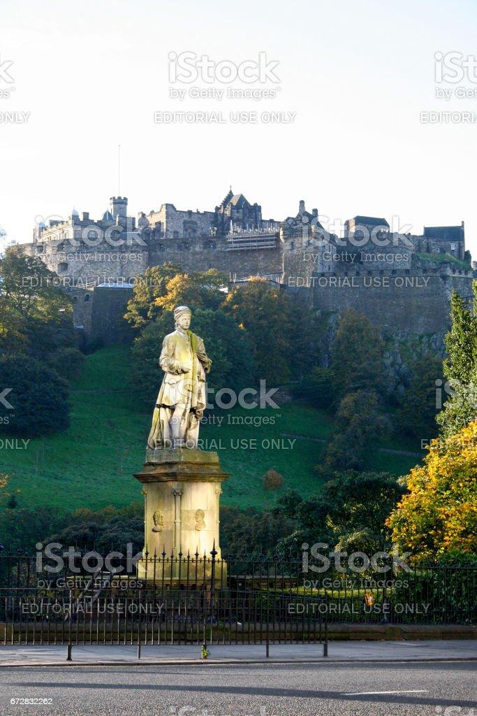 Statue of Allan Ramsay in Edinburgh stock photo
